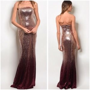 🌺NEW W/Tags Burgundy ombré sequin gown
